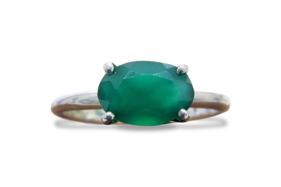 May Birthstone Ring - Stunning Green Onyx Ring in Premium Quality 925 Sterling Silver - Green Jewelry for Formal, Boho and Everyday