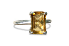 925 Sterling Silver Citrine Ring for Women - 3.87CT Rectangle Stacking Citrine Silver Rings 7x11 Millimeter All Sizes - Handmade