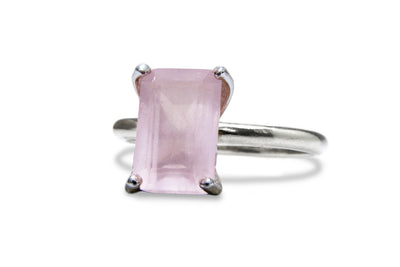 January Birthstone Rings - Rose Quartz Ring in 925 Sterling Silver - Artisan Silver, Rose and White Gold Ring for Any Occasion and Everyday Wear