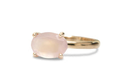 Rose Quartz Ring 14K Gold Band - Elegant January Birthstone Jewelry - Splendid Love Ring, Friendship Ring, Bridal Ring, Engagement Ring
