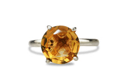14K Rose Gold Citrine Ring - Elegant and Beautiful Round Rose Gold Ring for Women - with Engraving - Handmade