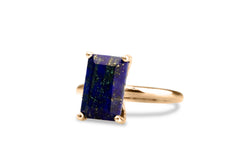 Fashion Rings for Women - Rectangular Lapis Lazuli in 925 Sterling Silver - Sophisticated Handmade Jewelry