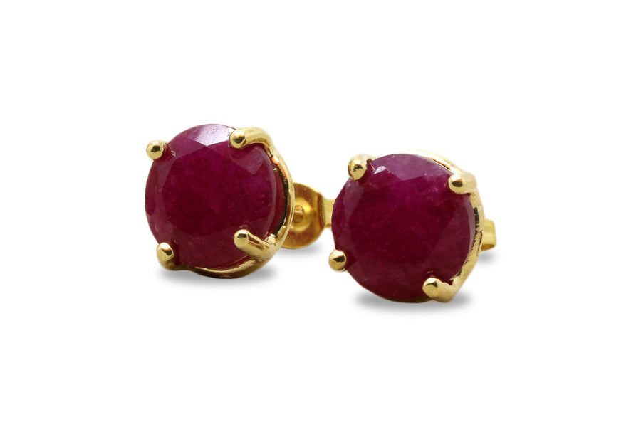 Ruby Stud Earrings for Women in 14k Gold - Fine Jewelry for Women for Formal and Casual Wear - July Birthstone Jewelry for Gifts