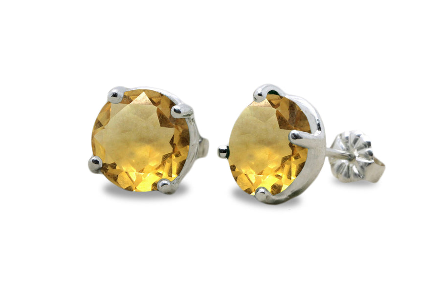 Round Citrine Earrings in Studs