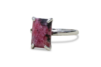 Ring Sterling Silver with Rhodonite - Fine Jewelry for Women - Artisan Rhodonite Ring for Every Occasion