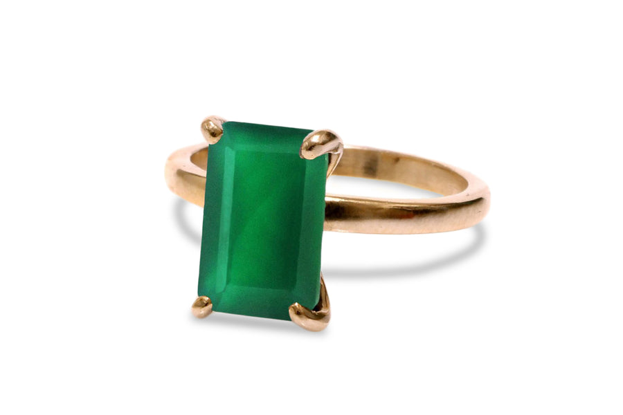 14K Rose Gold Ring - 3.87CT Green Onyx Ring for Women to Look Lovely and Elegant - Handmade Jewelry
