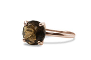 Gold Plated Rings for Women - 10mm Round 14k Rose Gold Ring - Artisan-made Statement and Stackable Rings