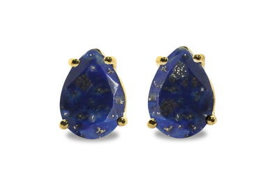 September Birthstone Earrings - Lapis Earrings in 14k Gold Filling - Artisan Blue Earrings Studs for Events and Casual Wear