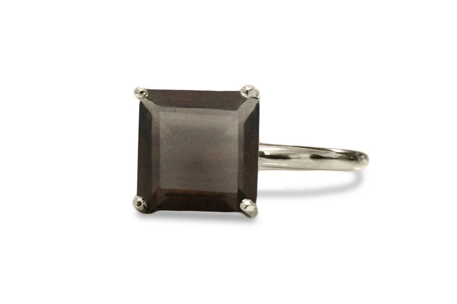 925 Silver Jewelry for Women - Smoky Quartz in 925 Sterling Silver Jewelry Ring - Formal and Stackable Rings for Women
