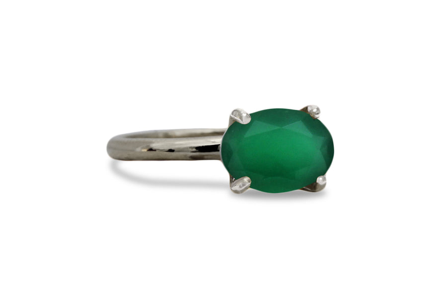 Gemstone Rings for Women - Green Onyx in 14k Rose Gold - Artisan Onyx Rings for Women and May Birthstone Jewelry