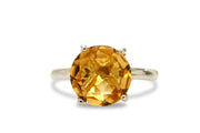 4-Prong 10mm Citrine Ring - Exquisite 14K Gold Ring that Shines - Made by Skilled, Passionate, and Knowledgeable Artisans - Handmade
