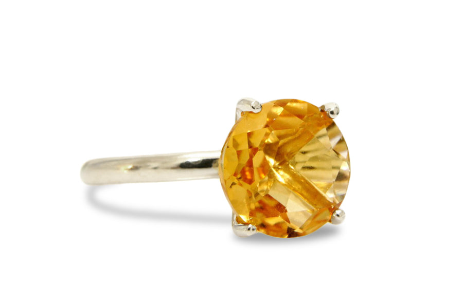 4-Prong 10mm Citrine Ring