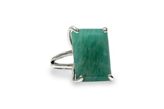925 Sterling Silver with 13x18mm Amazonite - Artisan-made Amazonite Ring for All Occasions - Fashion Jewelry for Formal, Casual Events and Gifts