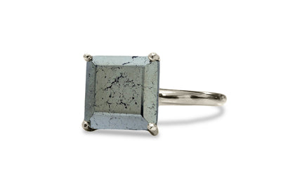 925 Silver Rings for Women - Pyrite Cocktail Ring in Silver - Handmade Stone Rings for Occasions, Fashion and Personal Collection