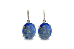 Gold and 925 Silver Earrings for Women - Lapis Lazuli Earrings in Dangles - Blue Earrings for Occasions and Everyday Statement Jewelry
