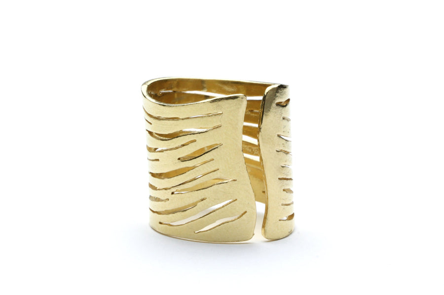 gold zebra ring,adjustable ring,gold ring,handmade ring,zebra jewelry,brushed gold ring,statement ring