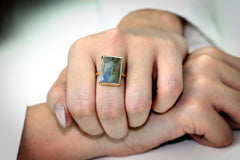Rectangular ring,gold ring,Labradorite ring,gemstone ring,statement ring,gold stone ring,rose gold ring,large stackable ring