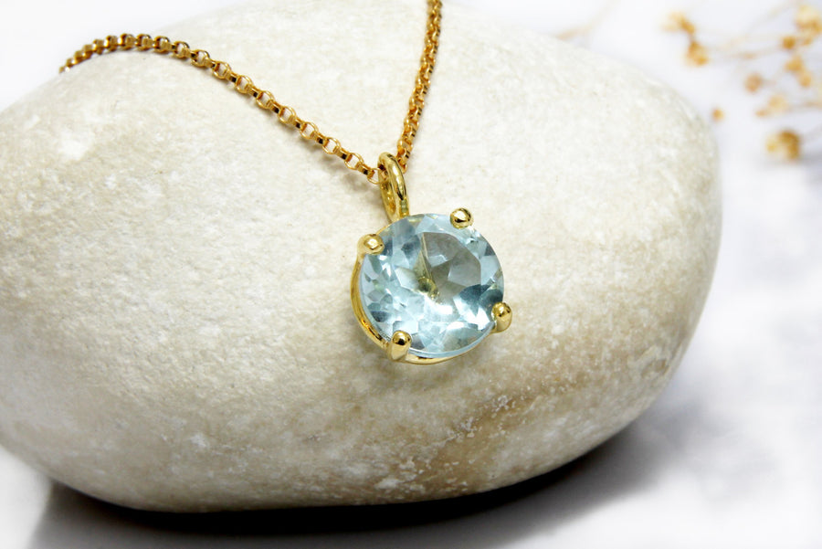 topaz necklace,gold necklace,blue topaz necklace,prong setting necklace,long stone necklace