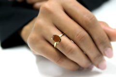 Gemstone Rings for Women - Tiger Eye Oval Rings for Women - Cocktail Rings, Stackable Rings, Dainty Rings - Gold Jewelry