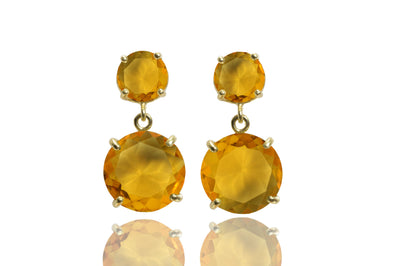 Citrine earrings,gold earrings,prong earrings,gemstone earrings,long earrings,November birthstone earrings