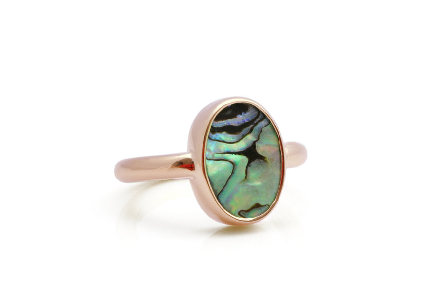Rose gold ring,abalone shell ring,abalone ring,rose gold oval ring,rose gold bezel ring,gemstone ring,shell ring,stacking ring