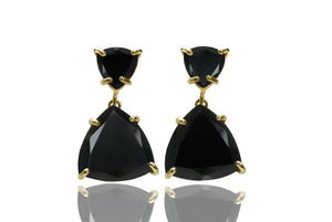 Black onyx earrings,black diamond earrings,solid gold earrings,triangle earrings,gemstone earrings,black earrings