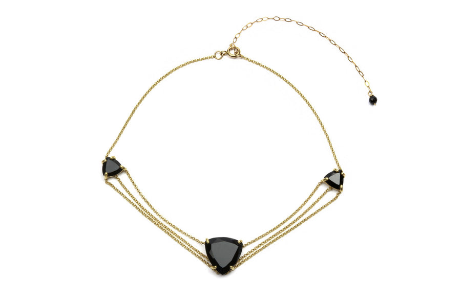 Layered gemstone necklace,black onyx necklace,triangle stone necklace,gold necklace,gold chain necklace