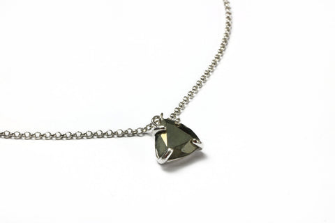 Pyrite necklace,trillion pendant,triangle pendant,silver necklace,delicate necklace,prong pendant,everyday necklace