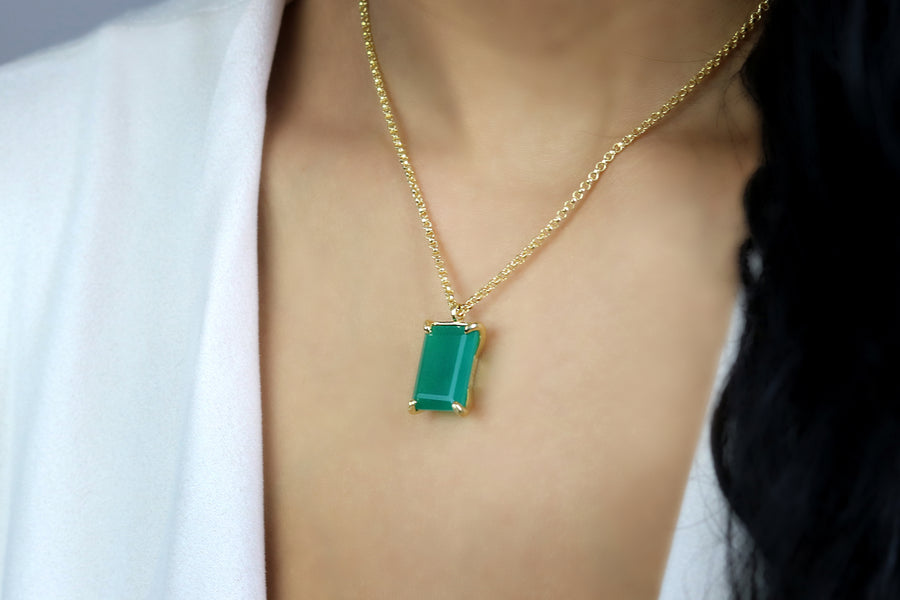 Rectangle Pendant Green Onyx Gold Necklace