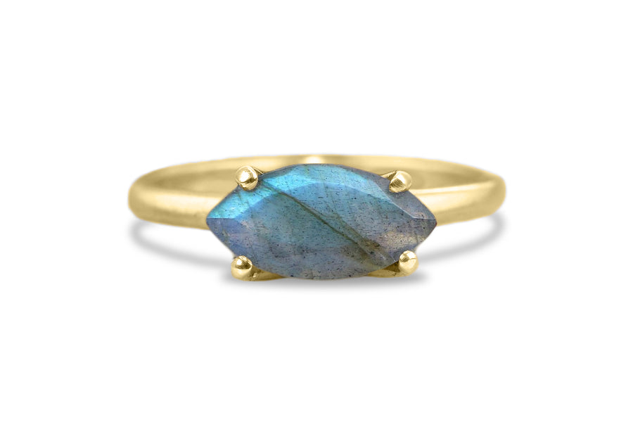 Birthstone and Gemstone Rings - 3.87CT Labradorite Ring in 925 Sterling Silver - Friendship, Sister, Mom Jewelry for Women - Handmade Ring