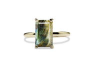 Rectangular Labradorite Ring - Colorful 14K Stacking Gold Ring that Makes a Loud Statement - Designed and Crafted by Expert Artisans - Handmade