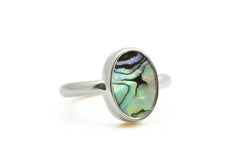 Silver abalone ring,shell ring,silver ring,oval ring,bezel ring,shell bezel ring,abalone jewelry,stackable ring