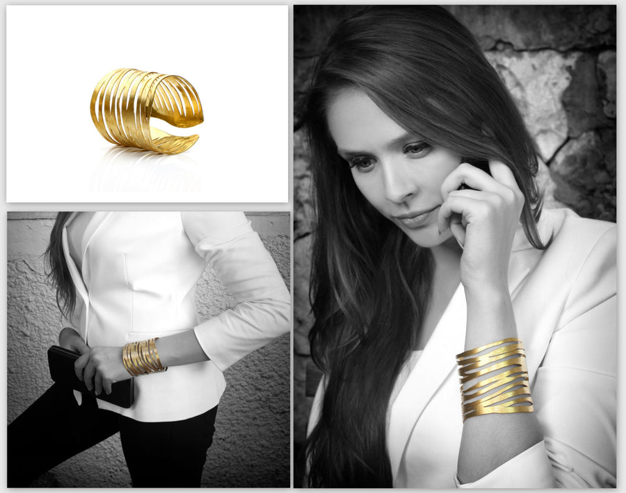 Brushed gold zebra bracelet,adjustable cuff,gold bracelet,zebra jewelry,handmade bracelet,wide bracelet,statement bracelet