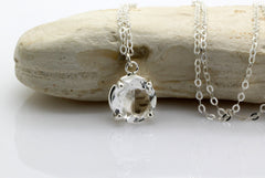 crystal quartz necklace,round gemstone pendant,silver necklace,silver chain 925,silver pendant,white quartz necklace