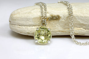 lemon quartz necklace,silver necklace,silver pendant,yellow stone necklace,long necklace,silver prong pendant