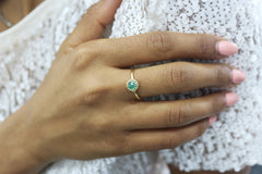 14k Gold and Sterling Silver Rings - Dainty Green Onyx Ring in Thin Gold Band - Artisan-crafted Onyx Rings for Women - Handmade Jewelry