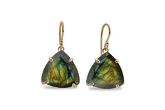 Labradorite Dangling Earrings for Women - Triangle Fashion Earrings, Handmade Natural Stone Jewelry for Women