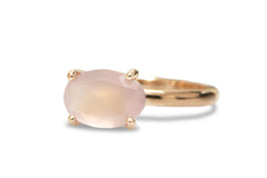 Oval Rings for Women - Rose Quartz in 14k Rose Gold - Solitaire Engagement Ring, Promise Ring, Birthstone Rings - Handmade Jewelry