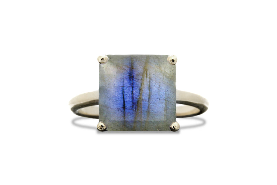 Gem Jewelry - Square Labradorite Ring in 14k Gold - Handmade Formal, Casual, Romantic and Boho Jewelry for Women