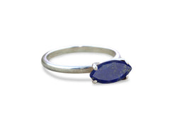 Birthstone Rings for Women - 925 Sterling Silver Lapis Lazuli Ring - Artisan-made Blue Ring for Engagement, Birthdays, Weddings, Everyday Wear