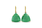 Green Aventurine 14k Gold Dangling Earrings for Women - Trillion Stone Earrings for Women - Jewelry for Fashion and Gifts