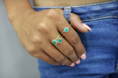 Turquoise Jewelry Ring in 925 Sterling Silver - Dainty Birthstone Rings for Women , Boho Rings for Women, Everyday Stackable Rings