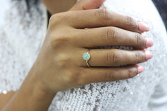 Amazonite Ring - Delicate 14k Gold Rings for Women - Birthday Ring, Prom Ring, Engagement Ring, Promise Ring, Everyday Ring
