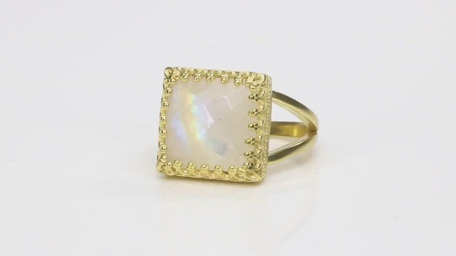 12mm Square Moonstone Gold Filled Ring
