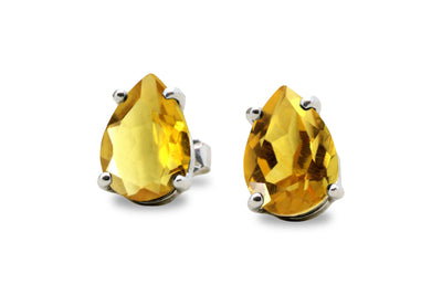 Anemone Unique Citrine Earrings in Sterling Silver - Stunning Pear Earrings for Women - Birthday, Wedding, Anniversary Gifts for Her - Everyday Fashion Jewelry with Gift Kit