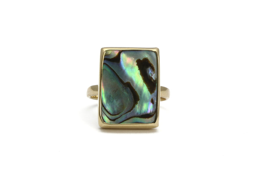 Abalone ring,gemstone ring,shell ring,rectangle ring,unique ring,statement ring,custom metal ring,abalone jewelry