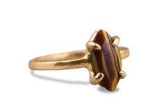 Gem Rings for Women - Tiger Eye 925 Sterling Silver Jewelry - Artisan Single and Stacking Rings