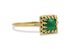 14k Gold Rings for Women - Square Malachite Ring in 14k Gold - Handmade Cute Rings, Gift Ring, Everyday Fashion Jewelry