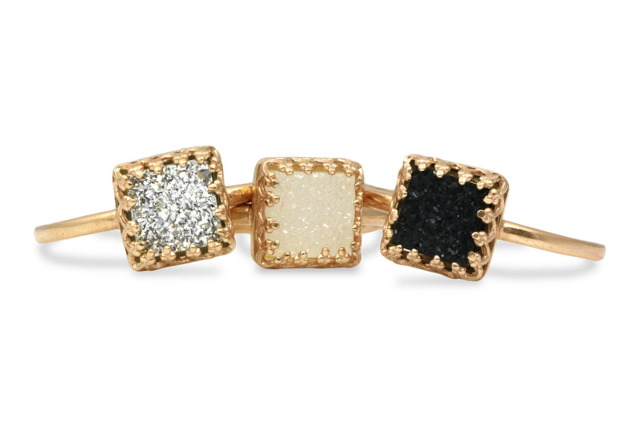 Stackable Gemstone Rings for Women - White, Black and Grey Druzy 14k Gold Rings - Artisan Jewelry Set for Gifts, Fashion and Collection