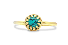 14k Gold Rings for Women - Turquoise Ring in 14k Rose Gold - Thin Rings for Women for Gift, Collection and Stacking Ring